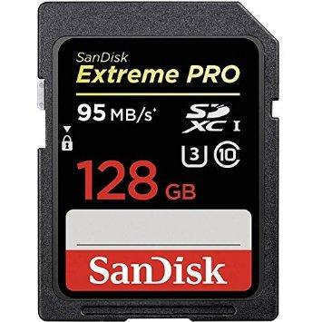 Secure Digital Extreme Pro 128GB XC (V30, U3, UHS I, C10 - 90MB/s scrittura, 95MB/s lettura)