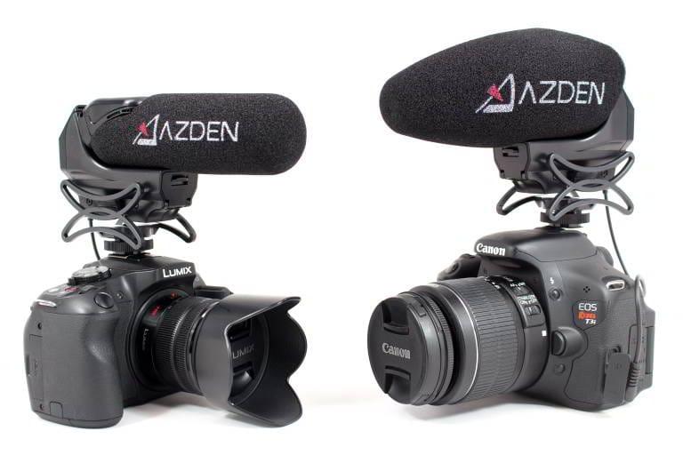 AZDEN SMX-15 Microfono mono, spinotto Jack tipo TRS da 3,5mm, booster +20 dB. Supporto anti-shock integrato. Fornito con spugnetta antivento.